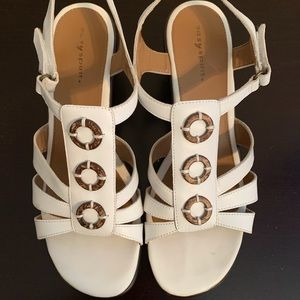 Easy Spirit white leather sandals with heel strap